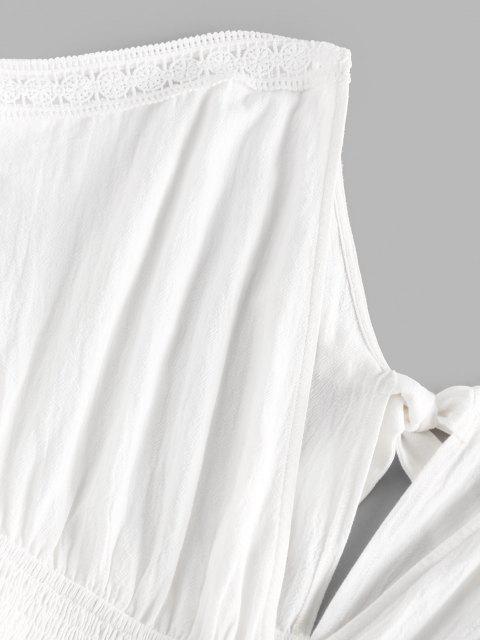 shop ZAFUL Plunge Back Tie Smocked Dress - WHITE S Mobile