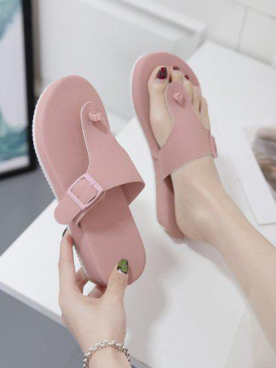 Thick Sole Buckle Belt T-Strap Slippers - Light Pink Eu 41