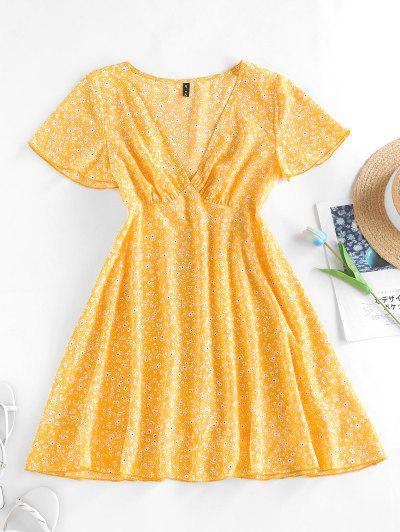 ZAFUL Mini-Robe Plongeante Fleurie Imprimée à Manches Bouffantes - Jaune M