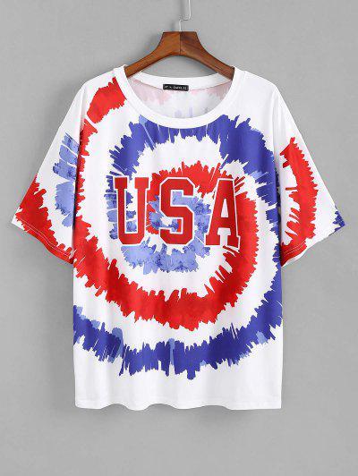 Zaful Plus 크기 USA 나선형 넥타이 염료 인쇄 티셔츠 - 다중 5xl