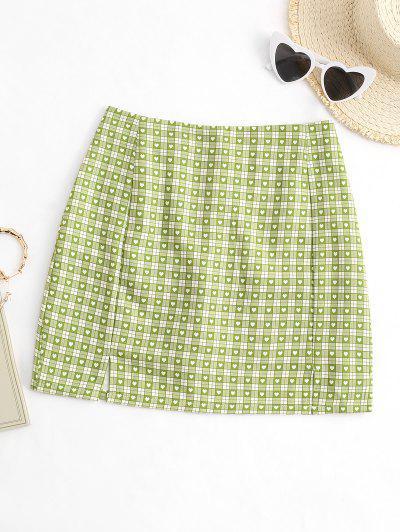 Plaid Heart Split Hem Mini Skirt - Green M