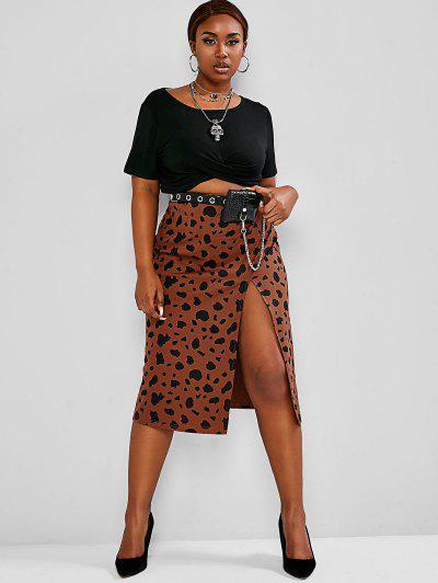 ZAFUL Plus Size Cropped Tee Leopard Print Slit Midi Skirt Two-Piece Set - Multi 2xl