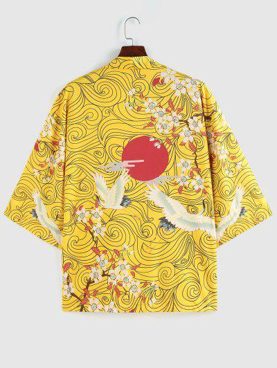 ZAFUL Floral Red Sun Flying Crane Print Kimono Cardigan - Yellow Xl