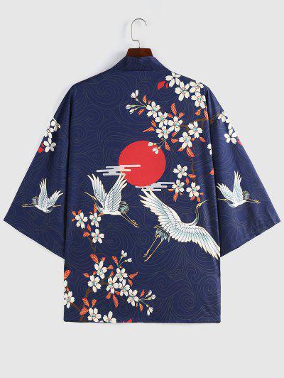 ZAFUL Floral Red Sun Flying Crane Print Kimono Cardigan - Deep Blue M