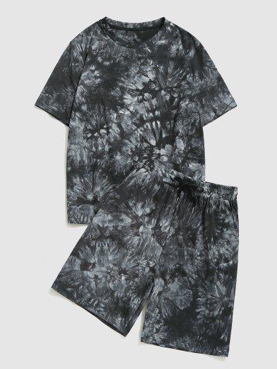 Tie Dye Print T-shirt And Shorts Set - Black M