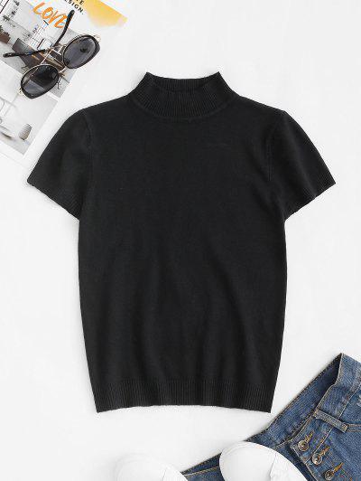 Mock Neck Short Sleeve Knitwear - Black
