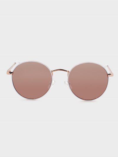 Retro Round Frame Pink-Tinted Metal Sunglasses - Pink