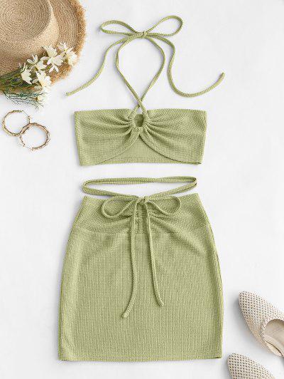 ZAFUL Cinched Cutout Crisscross Knitted Two Piece Dress - Green S
