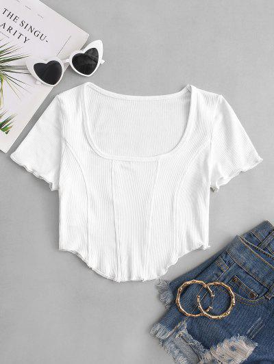 Square Collar Rib-knit Curved Hem Corset Top - White S