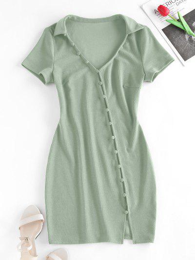 ZAFUL Loop Button Slit Mini Bodycon Dress - Light Green S