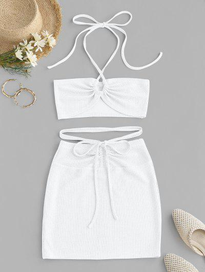 ZAFUL Cinched Cutout Crisscross Knitted Two Piece Dress - White M