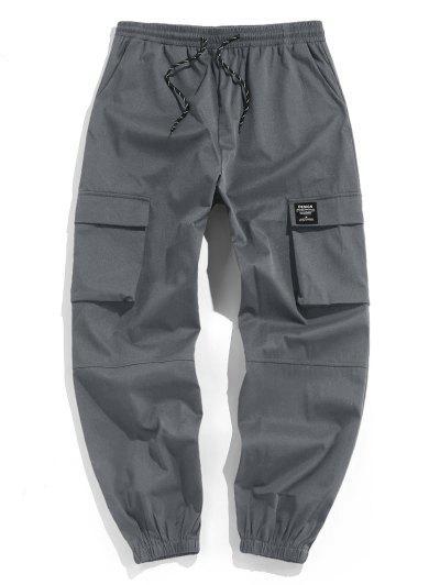 ZAFUL Pantalon Cargo Lettre Applique à Cordon - Gris S
