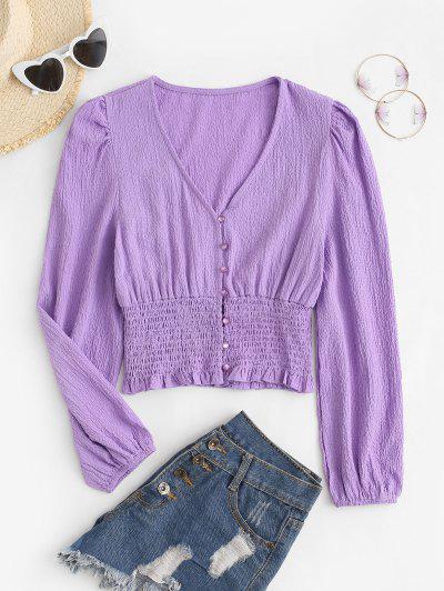 Textured Smocked Detail Puff Sleeve Blouse - Light Purple M