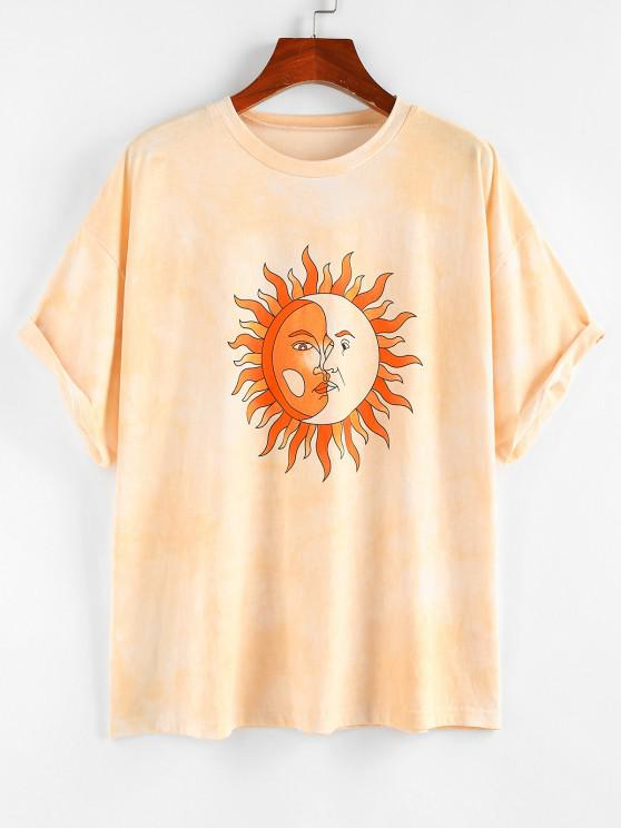 ZAFUL T-shirt Teinté Lune et Soleil Imprimés à Goutte Epaule - orange clair M