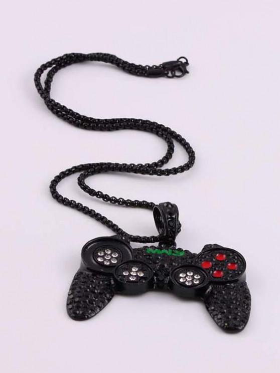 Hip Hop Gamepad Pendant Diamante Necklace - أسود