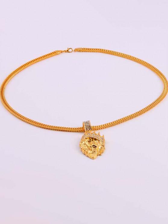 sale Diamante Crown Lion Head Necklace - GOLDEN