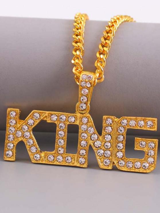 Rhinestone Letters Hip Hop Necklace - ذهبي