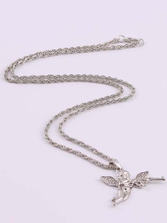 Rhinestone Angel With Gun Hip Hop Necklace - فضة