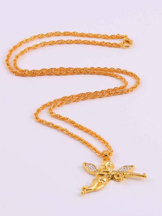 outfits Rhinestone Angel With Gun Hip Hop Necklace - GOLDEN