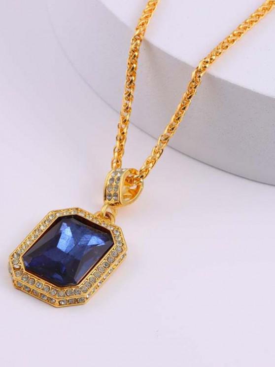 Geometric Faux Gemstone Pendant Necklace - ازرق غامق