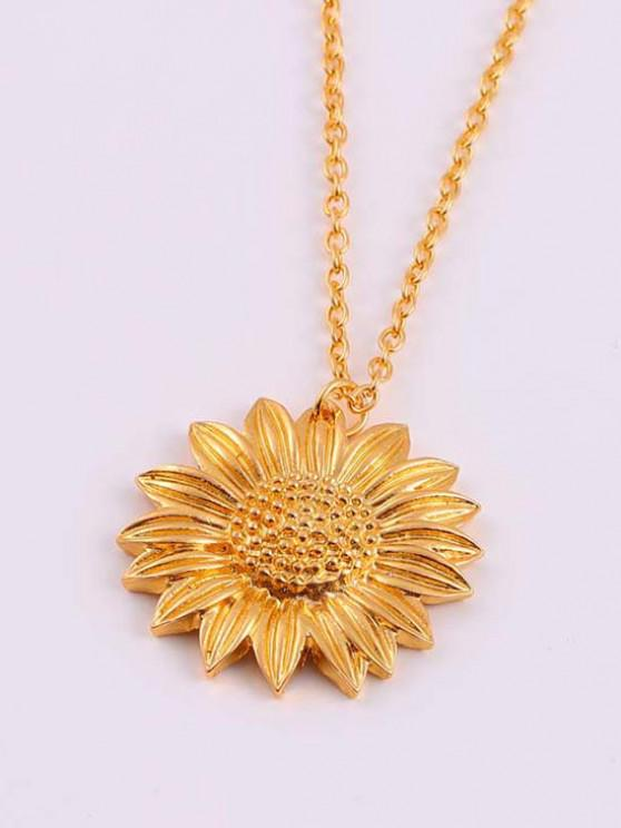 fashion Carved Sunflower Pendant Necklace - GOLDEN