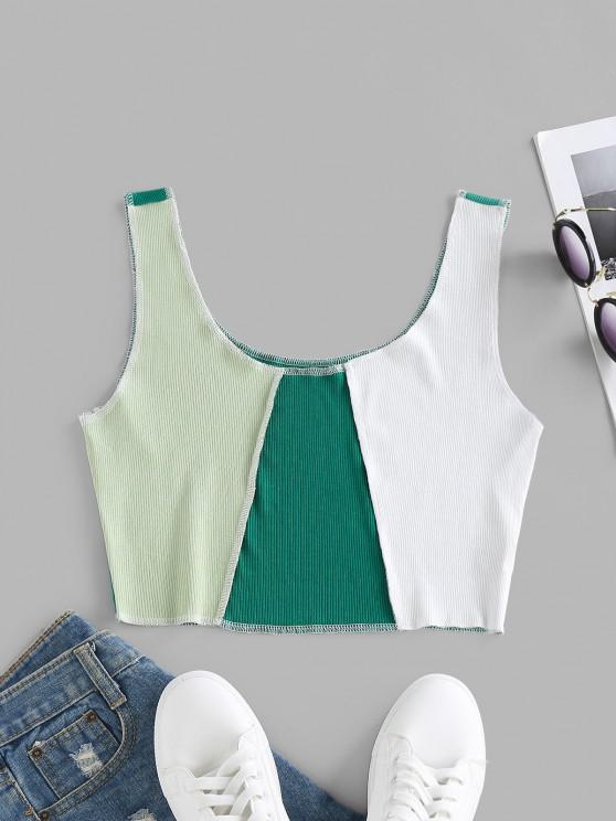 fashion ZAFUL Colorblock Topstitching Crop Tank Top - GREEN S
