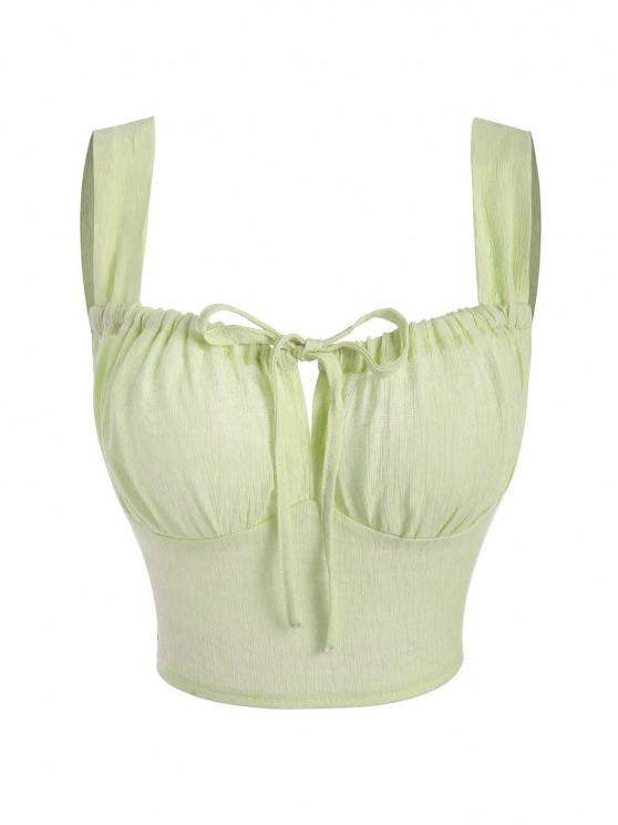 lady Ruched Tie Zip Back Crop Tank Top - LIGHT GREEN S