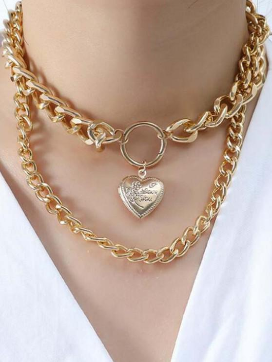 Engraved Heart Locket Layered Necklace - ذهبي