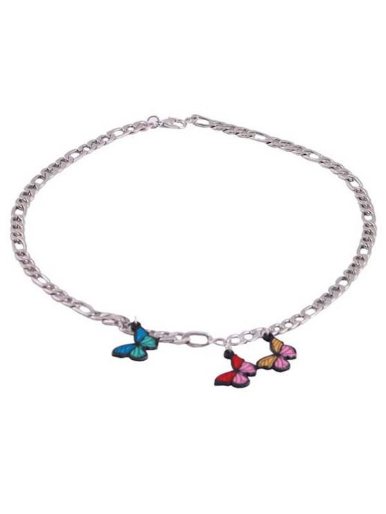 Butterfly Charm Chain Necklace - فضة