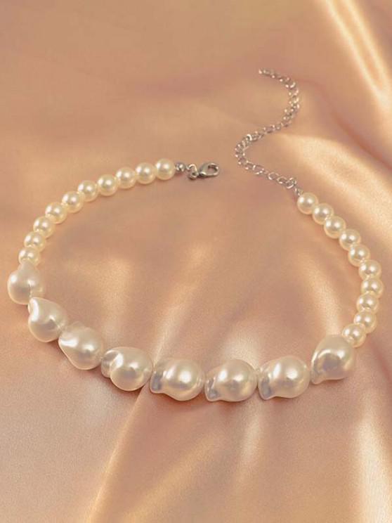 Unregelmäßige Künstliche Perlen Halskette - Weiß