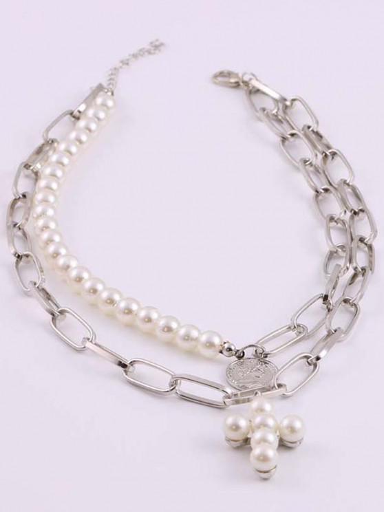 Kreuz Münze Künstliche Perle Geschichteten Halskette - Silber
