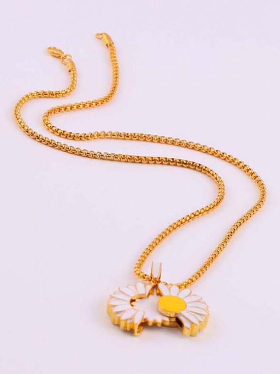 best Glazed Daisy Opening Pendant Necklace - GOLDEN