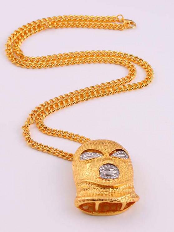 Personalized Rhinestone Face Pendant Necklace - ذهبي
