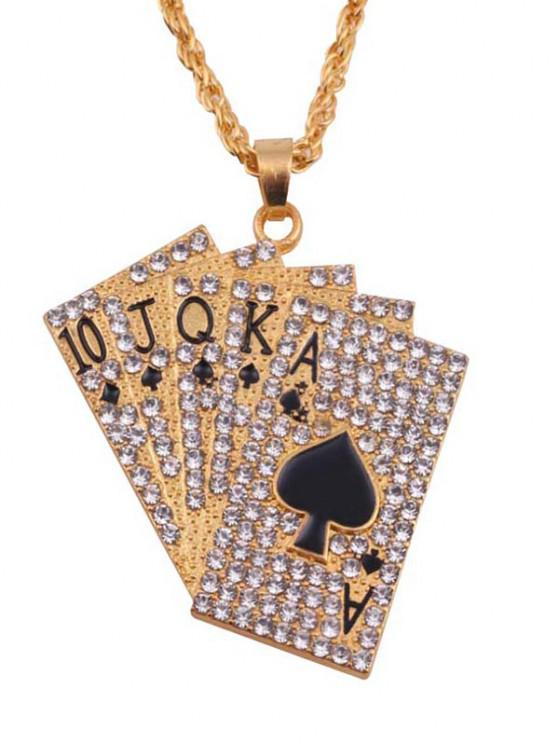 Playing Cards Rhinestone Pendant Necklace - ذهبي