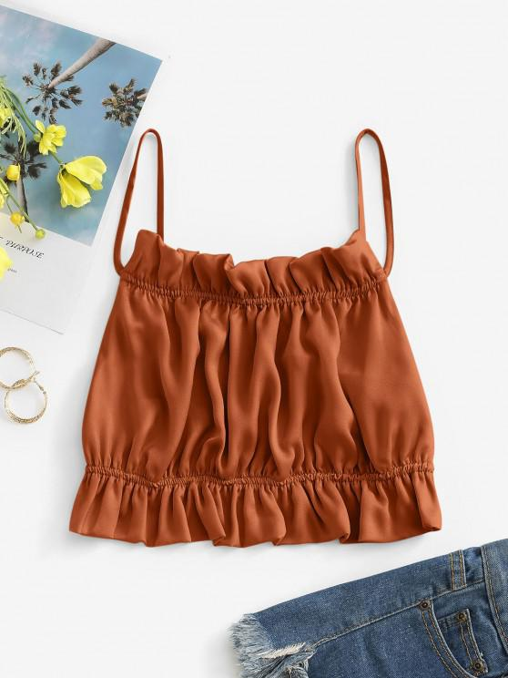affordable Ruffled Silky Tied Backless Cami Top - COFFEE M
