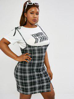 ZAFUL Plus Size Grid Split Hem Tie Suspender Dress - Black 3xl