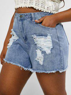 Plus Size Ripped Cuff Off Jean Shorts - Light Blue 2xl