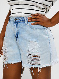 Plus Size Distressed Light Wash Cuff Off Denim Shorts - Light Blue L