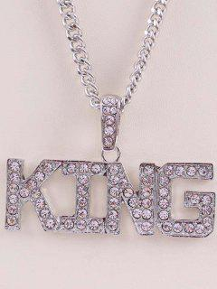 Rhinestone Letters Hip Hop Necklace - Silver