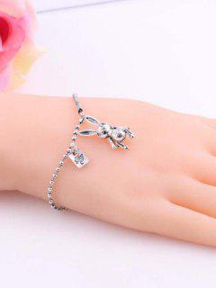 Carved Rabbit Pendant Chain Bracelet - Silver