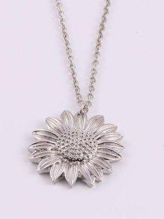 Carved Sunflower Pendant Necklace - Silver