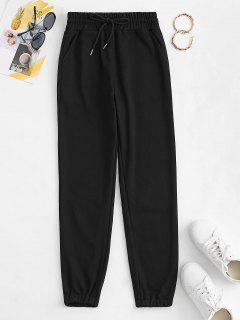 Drawstring French Terry Sweatpants - Black L
