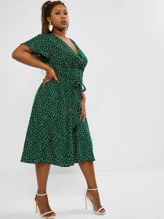 Plus Size Polka Dot Belted Midi Surplice Dress - Deep Green 3xl