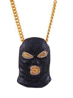 Personalized Rhinestone Face Pendant Necklace - Black