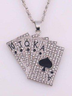 Playing Cards Rhinestone Pendant Necklace - Silver