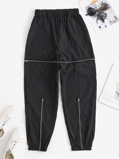 Slant Pockets Zippered Windbreaker Pants - Black M