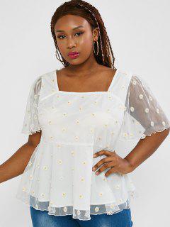 ZAFUL Plus Size Daisy Embroidered Mesh Panel Blouse - White 4xl