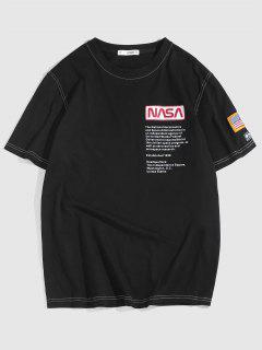 ZAFUL Besticktes T-Shirt Mit Amerikanischer Flagge - Schwarz M