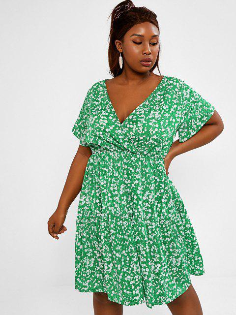 latest Plus Size Ditsy Floral Print Surplice Dress - GREEN 5XL Mobile