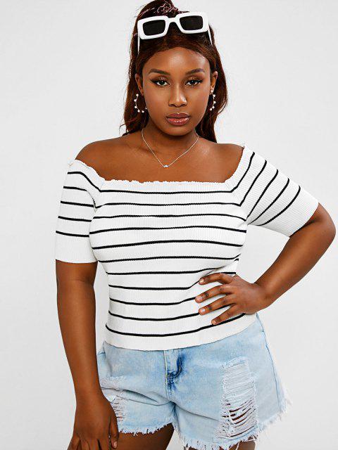 affordable ZAFUL Plus Size Rib-knit Lettuce Trim Striped Knitwear - WHITE L Mobile